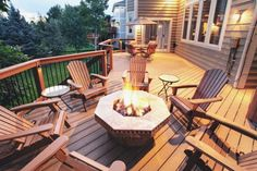 traditional wooden backyard deck