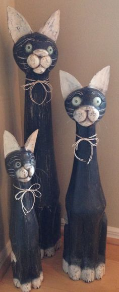 I love my Trio of wooden carved cats.  They are whimsical and stately.