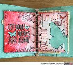 Planner page by Godelieve Tijskens using Darkroom Door Take Flight small stamp, Torn Text Texture Stamp and small Butterflies stencil. Door Texture, Small Planner, Butterfly Stencil, Planner Pages, Planner Ideas, Red Geraniums, Distress Oxide Ink, Great Friends