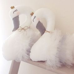 Made to order Beautiful swan,soft sculpture.home decore,nursery decor,grey and white tulle