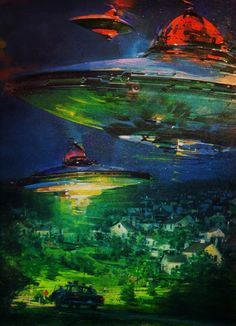 "atomic-chronoscaph: "" UFOs - art by John Berkey (1978) """