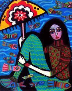 Love the colors...Mexican Artists are so EXPRESSIVE and HOLD on to every emotion...I love it.... It's REAL..... There are THOSE who THINK And Those Who FEEL....True Artists are THOSE who FEEL..... IN return their works reach THE MASSES (others) and evoke FEELING...  I am a DEFINITE FEELER.....     Mermaid Art Print Mexican Folk Art Poster by HeatherGallerArt, $24.00