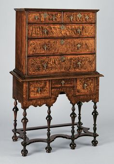 1700-1730 High chest of drawers Boston, Massachusetts Black walnut, poplar, maple, hickory, eastern white pine