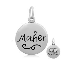 Mother Pendant, Gift for Mom, Mother's Day Gift, 316 Stainless Steel, 18mm, 2mm Hole, 7x1mm Jump Ring, Lot Size 1 to 5, #1852