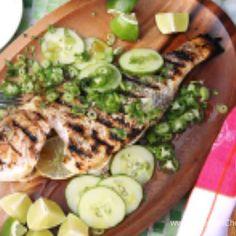 Grilled Tabana Fish recipe by Chef Zakir - Pakistani Chef Recipes Chef Recipes, Fish Recipes, Biryani Chicken, Eid Food, Healthy Meats, Biryani Recipe, Fresh Mint Leaves, Seafood Dinner, Fresh Coriander