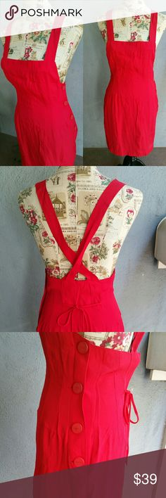 Vintage BRIOCHE CA Red Cross Back Apron Dress Vintage Brioche red apron criss cross back midi dress size S. In excellent used condition. Size and fabric tags have been removed. Feels like Rayon. Button down side. Tie back. Very sexy, unique Vintage Chic. Flat lay measurements : 14.5' bust / 16' waist / 19' hip. Please let me know if you have any questions. No trades! No lowballs! No modeling! 30% discount when using the bundle feature. Reasonable offers may be considered. Vintage Dresses