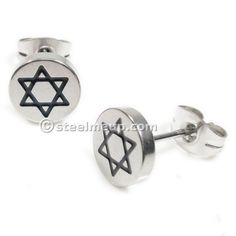 Pair Stainless Steel Silver Black Jewish Star Post Stud Earrings 8mm