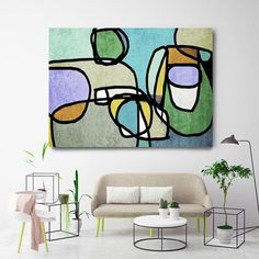 Vibrant Colorful Abstract-56. Mid-Century Modern Green Blue