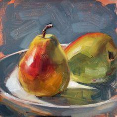 Pintura al óleo originales: Peras al sol