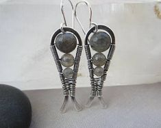 Silver Earrings/ Labradorite Earrings/ Labradorite/ One of a kind Earrings/ Labradorite gemstone Earrings/ Oxidized Silver Earrings