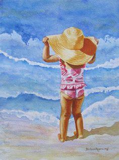 Seashore Ocean Beach Girl Child Watercolor by BarbaraRosenzweig, $29.00
