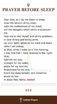 Prayer before sleep Prayer Scriptures, Bible Prayers, Faith Prayer, God Prayer, Prayer Quotes, Bible Verses Quotes, Spiritual Quotes, Faith Quotes, Catholic Prayers Daily
