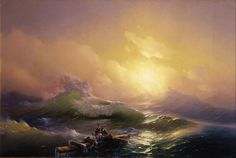 Wikipedia Picture of the Day: The Ninth : The Ninth Wave is an oil painting on canvas completed by the Russian Armenian marine painter Ivan Aivazovsky in 1850. It depicts a sea after a night storm and people facing death attempting to save themselves by clinging to debris from a wrecked ship. The title refers to a belief that waves grow increasingly larger until the largest wave, the ninth (or tenth) wave.