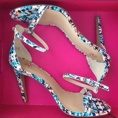 """Joe's """"Import"""" Ankle Strap Heels Never worn! Perfect shoes for spring! Unique mosaic print. Reasonable offers welcome :) Joe's Jeans Shoes Heels"""