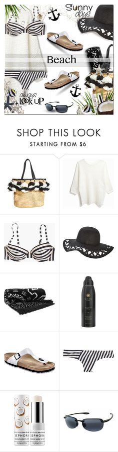 """Beach Day #4"" by lastchance ❤ liked on Polyvore featuring Alice + Olivia, J.Crew, The Beach People, Soleil Toujours, Birkenstock, Sephora Collection, Maui Jim, beachday, beach and beachstyle"