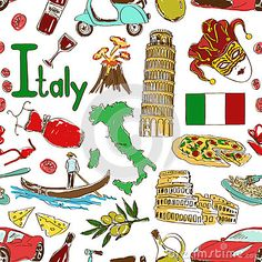 Modelo inconsútil de Italia del bosquejo. Imágenes alusivas a Italia. Mapa, bandera, pizza, queso, etc.