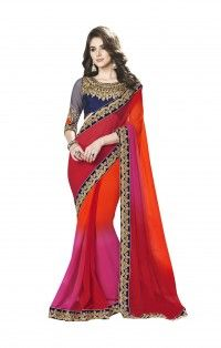 Cutty Multicolor Chiffon Rich Saree with Banglori Saree