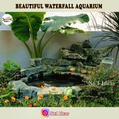 Diy beautiful sparkling aquarium very easy from styrofoam and cement for your garden ! Backyard Water Feature, Ponds Backyard, Backyard Landscaping, Outdoor Ponds, Diy Water Fountain, Diy Garden Fountains, Garden Pond Design, Landscape Design, Garden Waterfall