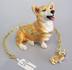 New Trinket Box Gift Crystals Painted Royal Corgi Dog Animal Necklace