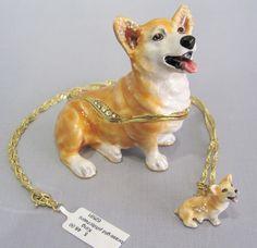 New Trinket Box Gift Crystals Painted Royal Corgi Dog Animal Necklace