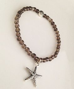 Smoky Quartz Stone Silver Plated Endless Knot Starfish Charm Stretch Bracelet Custom Sizes Available