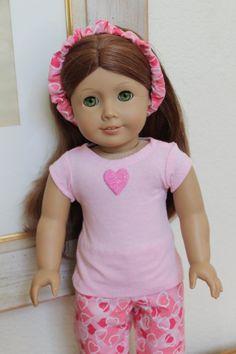 American Girl Doll Pink Valentine Pajamas or by Sariahsdollcloset, $10.99