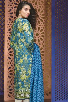 khaadi Eid Lawn Collection Unstitched 2 Piece Suit M16309 B in Blue. #LawnCollection #EidCollection2016