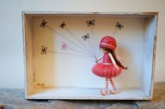 Needle felted figurines, fairies, in 3D frame - WALKING THE BUTTERFLIES