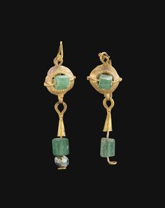 Ancient Jewels and Jewelry | Roman gold and glass earrings, c. 2nd-3rd...