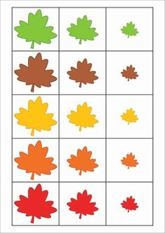 Otoño: Math Centers for Kindergarten - Autumn / Fall. A page from the unit: Sorting by size - small - medium - large - leaves. Fall Preschool Activities, Preschool Math, Kindergarten Math, Toddler Activities, Math Math, Autumn Crafts, Autumn Art, Autumn Theme, Colegio Ideas