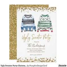 Ugly Sweater Party Christmas Holiday Invitation Reindeer Ugly Sweater, Tacky Sweater, Diy Ugly Christmas Sweater, Ugly Sweater Party, Holiday Fun, Holiday Cards, Christmas Holidays, Christmas Party Invitations, Custom Invitations