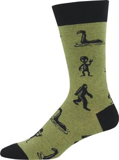Socks with Sasquatch, the Lochness Monster and aliens. You'll want to believe! Sock size fits U. men's shoe size (but one size fits most). Funny Socks For Men, Mens Novelty Socks, Motorcycle Riding Gear, I'm A Believer, Wool Socks, Men's Socks, Crazy Socks, Knee Socks, Stockings