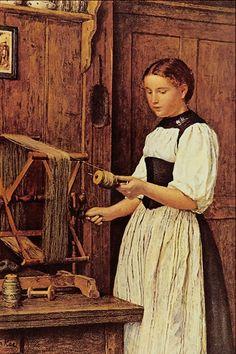 """The Winder"" | Albert Anker | Genre Painter | 1831-1910"