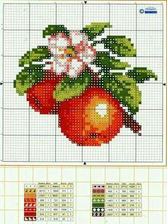 Apples chart Cross Stitch Fruit, Cross Stitch Kitchen, Cross Stitch Flowers, Hand Embroidery Stitches, Cross Stitch Embroidery, Embroidery Patterns, Cross Stitch Designs, Cross Stitch Patterns, Bordados E Cia