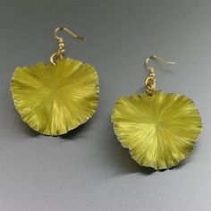 Yellow Anodized Aluminum Lily Pad Earrings - Makes a Cool 10th Wedding Anniversary Gift! - Handmade Jewelry by John S Brana