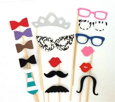 Photobooth Props Party Pack Set of 16 by CreativeButterflyXOX, $19.95