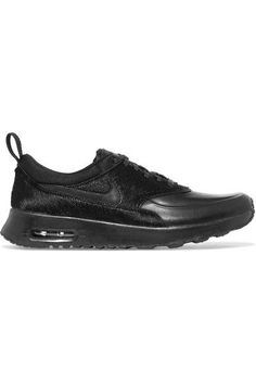 Nike - Air Max Thea Leather And Calf Hair Sneakers - Black - US10.5
