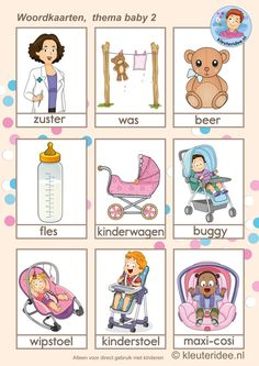 Woordkaarten voor kleuters, thema baby 2, free printable 2nd Baby, Baby Kids, Baby Baby, Cutting Activities, Activities For Kids, Baby Coloring Pages, Baby Bingo, Kids English, Preschool Lessons