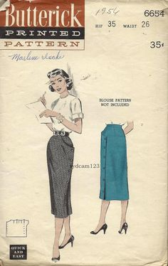 Vintage 1956 Side Buttoned Wrap Pencil Skirt...Butterick 6654 Waist 26