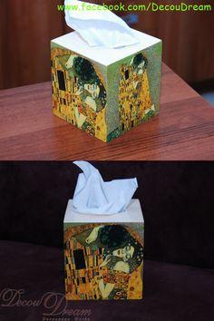 Gustav Klimt decoupage work chustecznik, handmade, rękodzieło