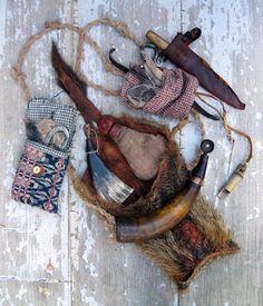 Ewing's Creek Pouches and Accoutrements Mountain Man Rendezvous, Bushcraft Kit, Black Powder Guns, Primitive Technology, Longhunter, Powder Horn, Hunting Bags, Fur Trade, Primitive Survival