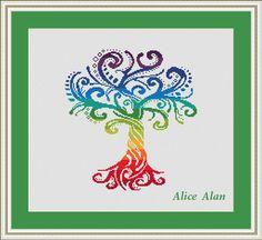 Cross Stitch Pattern Silhouette Tree ornament druids от HallStitch