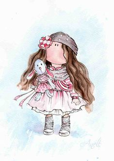 Little brown-haired girl with bunny by AnellHappyWatercolor