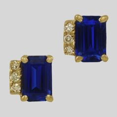 Tanzanite & Diamond Stud Earrings. Chic & very stylish. Magnificent cornflower blue emerald cut Tanzanites, radiating a strong blue flash accented by a band of glowing Diamonds down one side. I decided to set them into 18 karat Yellow Gold as this adds a little more contrast to the earrings & as a result they really do catch ones eye.