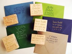 Give them a personalized custom calligraphy return address rubber stamp.