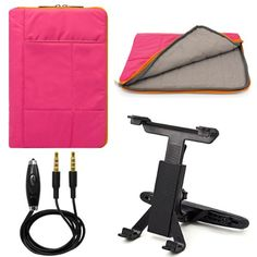 """awesome VG Pillow Quilted Nylon Sleeve for Microsoft Surface Pro 3 12"""" Tablet + Headrest Mount + Auxiliary Cable (Pink)"""
