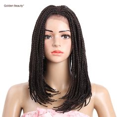 Golden Beauty 16inch Bob Synthetic Lace Front Wig with Baby hair Box Braiding Hair Dark Brown for African American