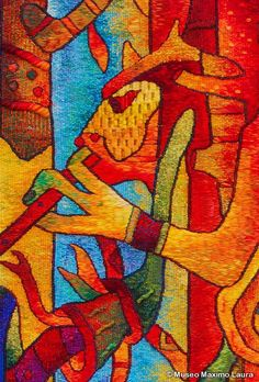 """Tapestry Detail, """"Blessed Fertility"""". Handwoven Tapestry by the Museo Maxmio Laura Collection, 71 x 48 inches. Tapiz: """"Fertilidad Bendita"""", 1.81 x 1.22 m. /// More information at info@museomaximolaura.com or www.museomaximolaura.com"""