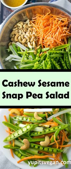 Cashew Sesame Snap Pea Salad | Yup, it's Vegan. Simple, fresh, and flavorful salad highlighting spring sugar snap peas. Served with a sesame citrus vinaigrette. #Vegan #MostlyRaw #GlutenFree