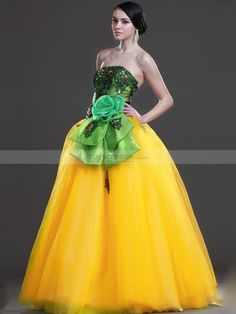 Rhinestone Appliqued Full Length Elastic Satin and Organza Ball Gown with Flower